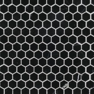 "Black 1"" hexagon mosaic tile by Jeffrey Court (18139)."
