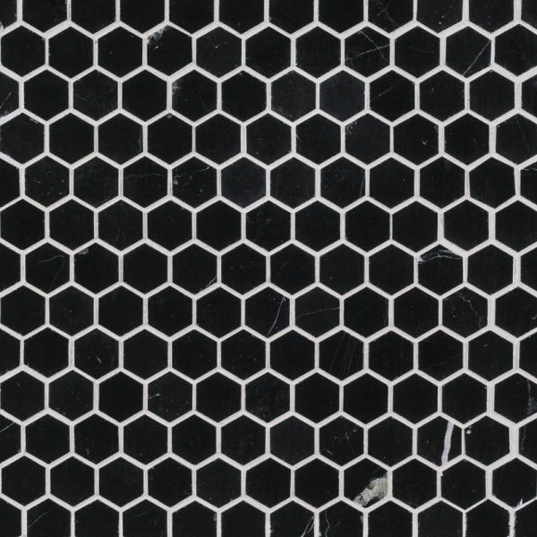 Black 1 Hexagon Mosaic Tile By Jeffrey Court 18139