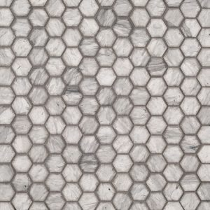 "A grey natural-stone mosaic 1"" hexagon tile by Jeffrey Court."