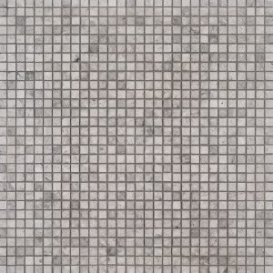 """A grey natural-stone mosaic 3/8"""" composition tile by Jeffrey Court."""