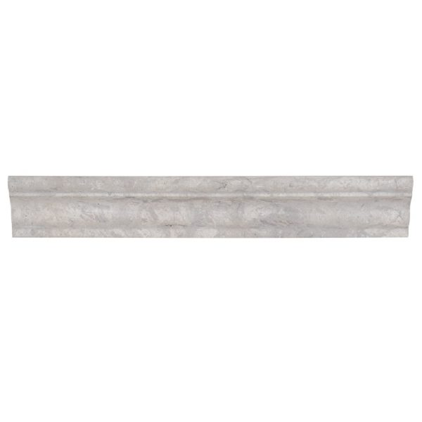 A grey natural-stone architectural mouldings crown tile by Jeffrey Court.