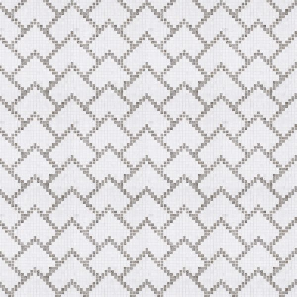 A white natural-stone mosaic juneau tile by Jeffrey Court.