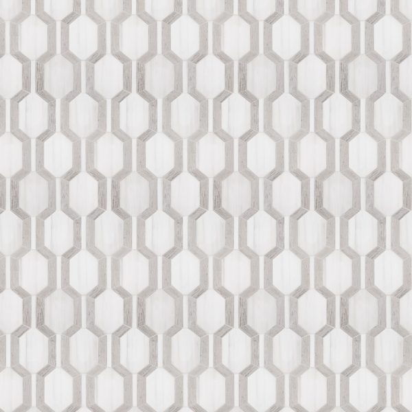 A white natural-stone mosaic montgomery tile by Jeffrey Court.