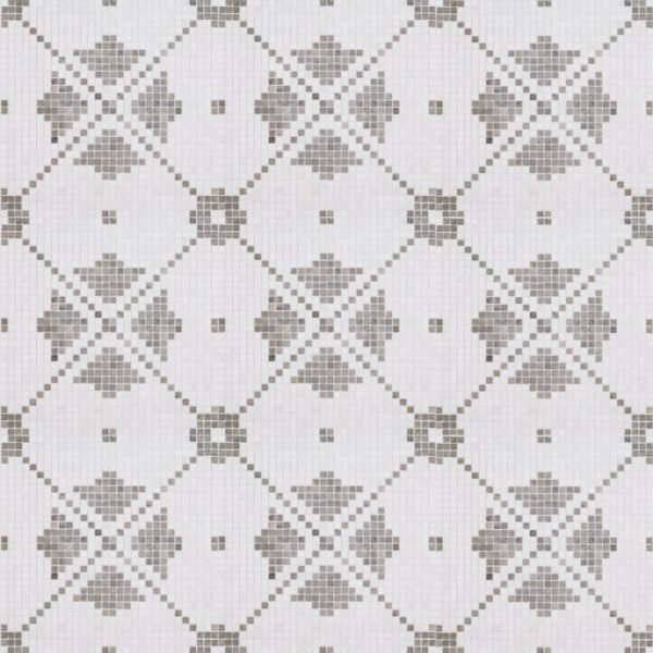 A white natural-stone mosaic montpelier tile by Jeffrey Court.